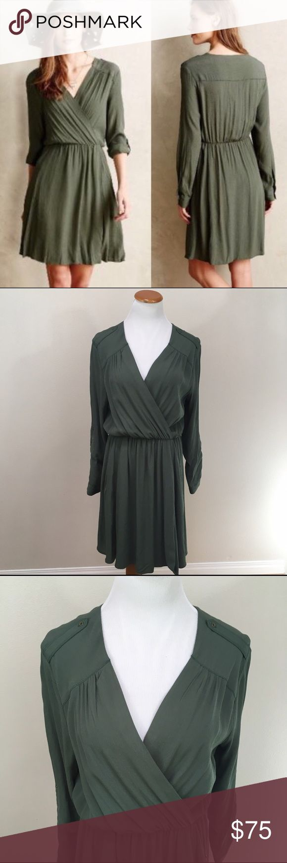 NWT Maeve Anthro Lene Green Safari Shirt Dress S NWT Maeve Anthropologie Lene Moss Green Safari Shirt Dress Small. Brand new with tags. Elastic band waist. Zipper pockets. Roll tab sleeves. Clean and comes from smoke free home. Questions welcomed! Anthropologie Dresses Midi