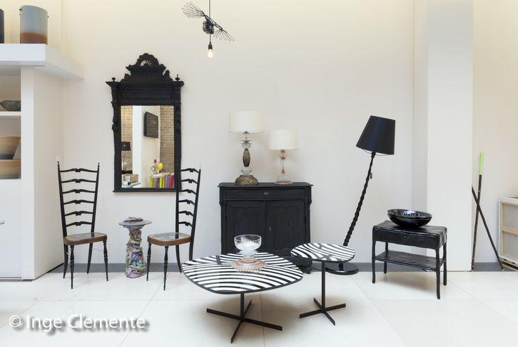 "arflex - Showroom Mint London UK - Island coffe table decorated top black and white ""strips"" design Paola Vella& Ellen Bernhardt #arflex #mint #london #island #paolavellaellenbernhard"