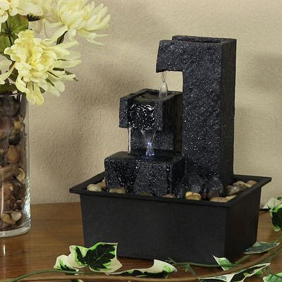 Sunnydaze Square Tiered Tabletop Water Fountain, 10.5 Inch Tall