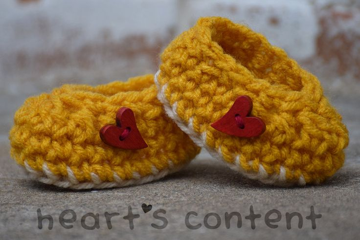 Adorable baby booties / baby shoes adorned with red heart wood buttons. Yellow rochet baby booties. Super cute baby gift ☺ For 30% off use promo code HCPIN201630