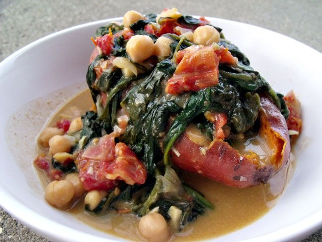 Braised Coconut Spinach and Chickpeas with Lemon over Roasted Sweet ...