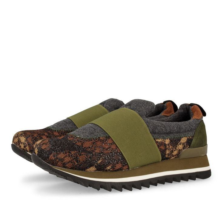 Zapatillas de mujer en gris con detalles en kaki. Sin cordones. Estampado en…