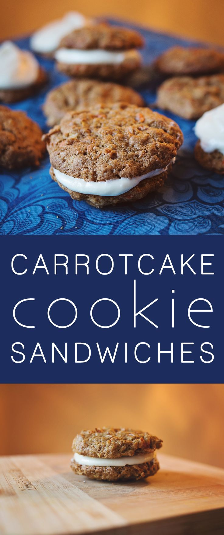 Fun recipe for chewy carrot cake cookies made into dessert sandwiches with cream cheese frosting.