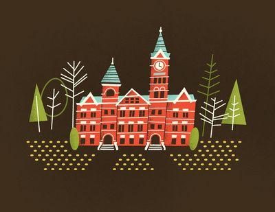 Samford Hall: Samford Hall, Auburn, Hall Art, Illustration, Art Prints, Brad Woodward, Brad Woodard, War Eagle, Design