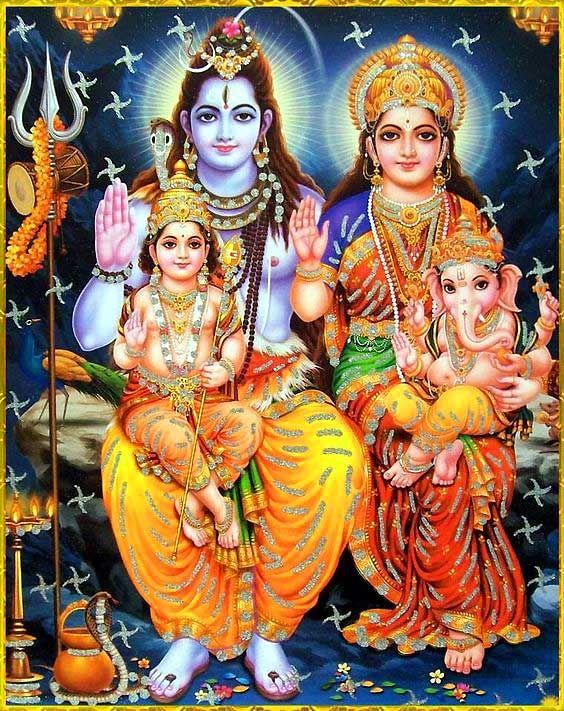 God Shiva Images with Parvathi, Ganesh and Muruga