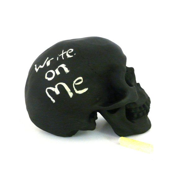 chalkboard skull, office, desk accessories, skull decor, upcycled, kids decor, eclectic chalk board