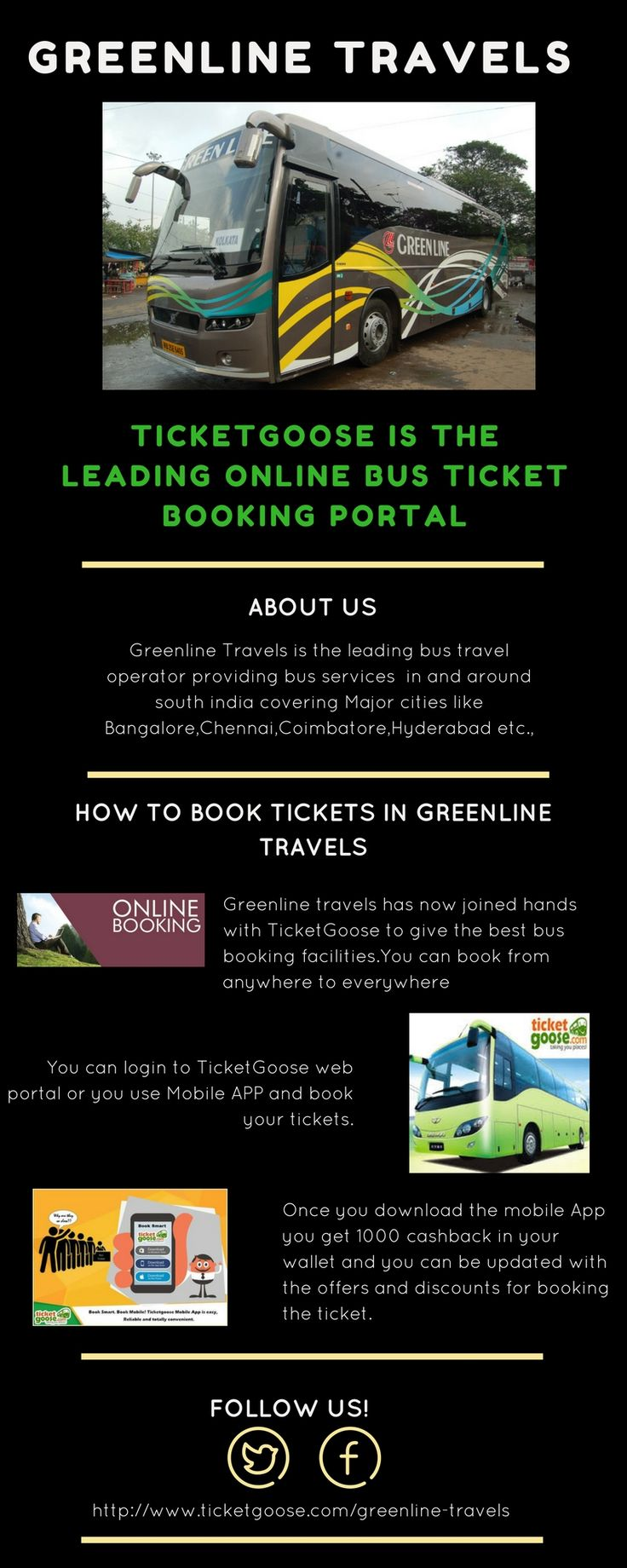 Green line Travels offers the bus services to Vijayawada,Hyderabad,routes.Get the discount on booking the ticket  at ticket goose in green line travels  http://www.ticketgoose.com/greenline-travels