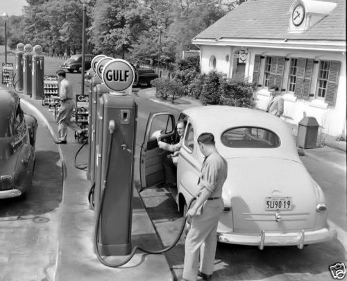 Vintage Gulf Gas Station ~ back when attendants filled the tank...