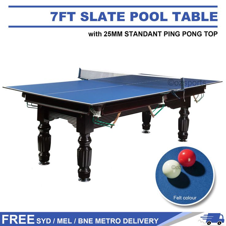 7ft Blue Slate Snooker Pool Table + 25mm Table Tennis / Ping Pong Table Top