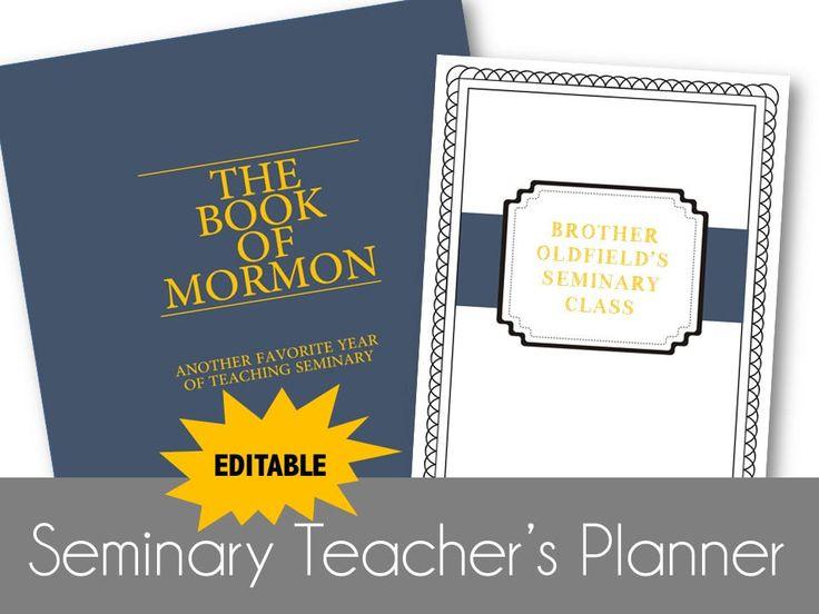LDS Seminary Teacher Planner - Book of Mormon - 2017 2018 - Doctrinal Mastery - Organizer - EDITABLE by OldfieldDesigns on Etsy