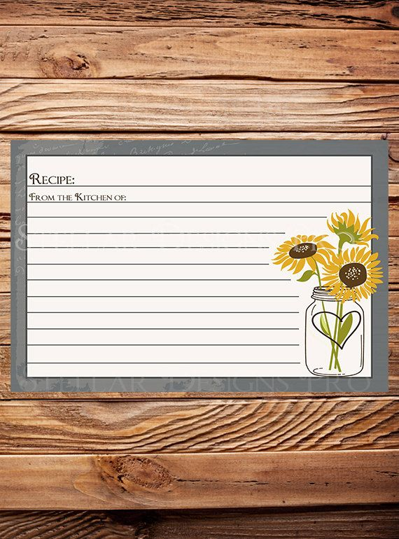 Another option for sunflower theme...Recipe Card Sunflowers Mason Jar as is by StellarDesignsPro