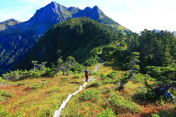 Hiking the Harbor Mountain Trail ridge line in Sitka Alaska