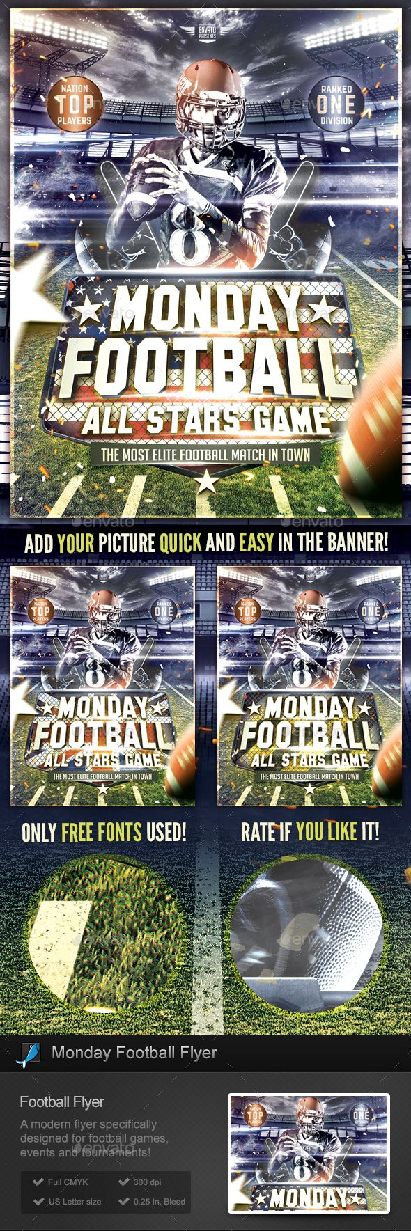 Monday #Football #Flyer Template - Sports #Events Download here:  https://graphicriver.net/item/monday-football-flyer-template/19557014?ref=alena994