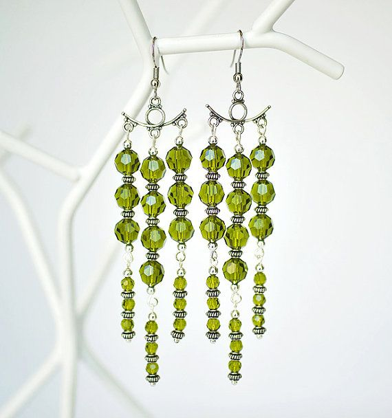 Green Crystal Chandelier Earrings Bridesmaids by GemBoutiqueOnline $68