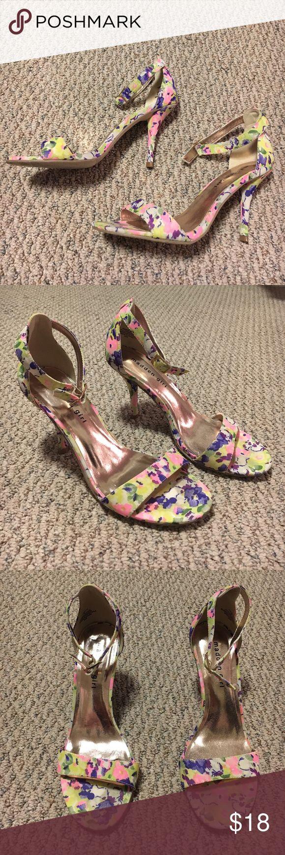 "Springtime Floral Heels Madden Girl ""Darrlin"" heeled sandals with ankle strap. Pretty Floral Madden Girl Shoes Heels"