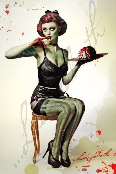 woman. lady. zombie. female. green skin. brains. pin-up. dead. undead. | RP » Whoa! If I ever turn into a zombie I want to look like that!