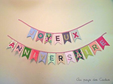 Guirlande fanions Joyeux anniversaire tissu Au pays des Cactus 1