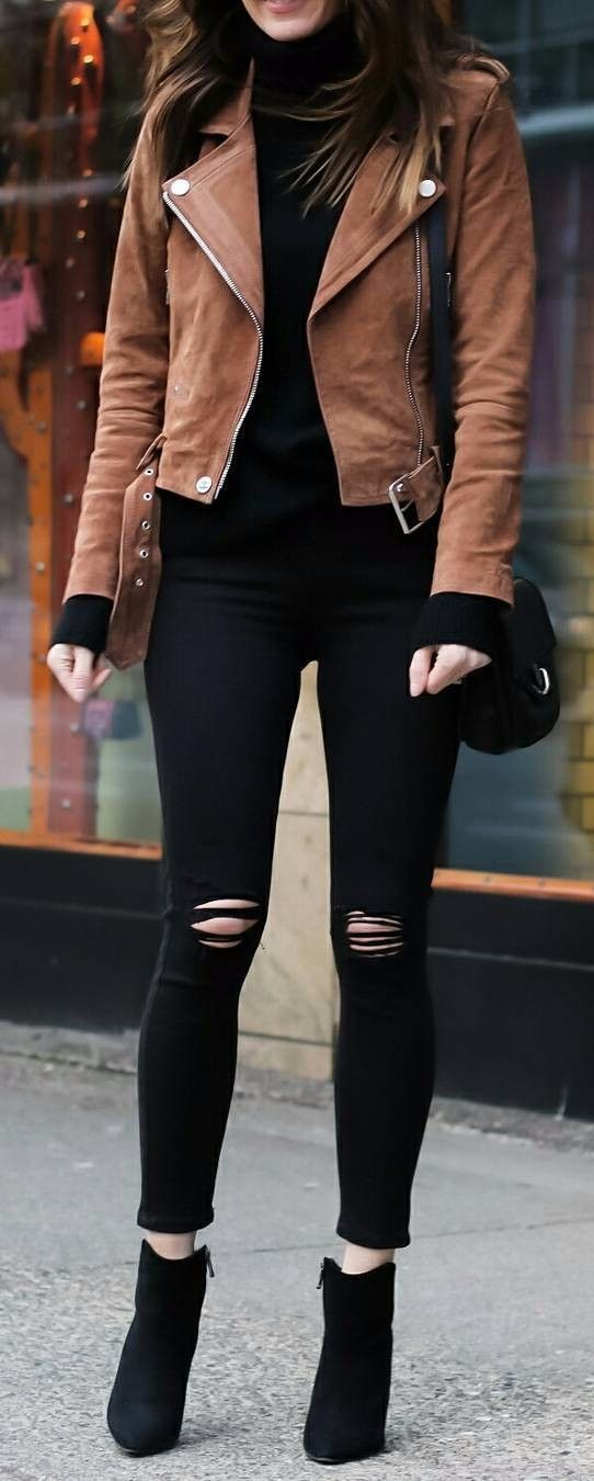 camel jacket + ripped jeans to try to the office