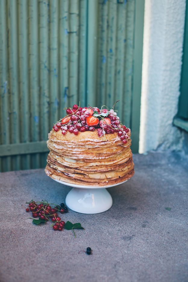 Pannkakstårta | Linda Lomelino | Amelia bloggar. This could easily be made gluten free by using buckwheat crepes. Buckwheat flour is often contaminated w/ wheat so use a brand that is certified gf. The only one I've been able to find is Pocono brand.