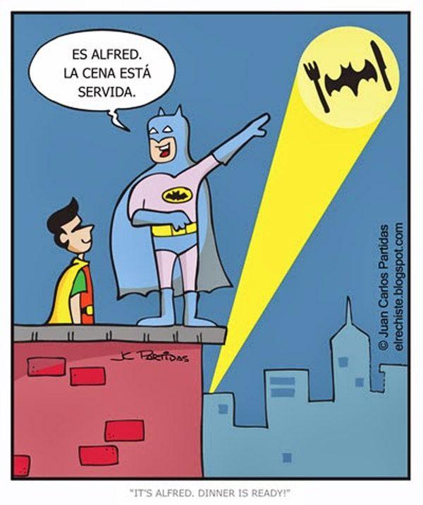 Batman y Robin y la cena.