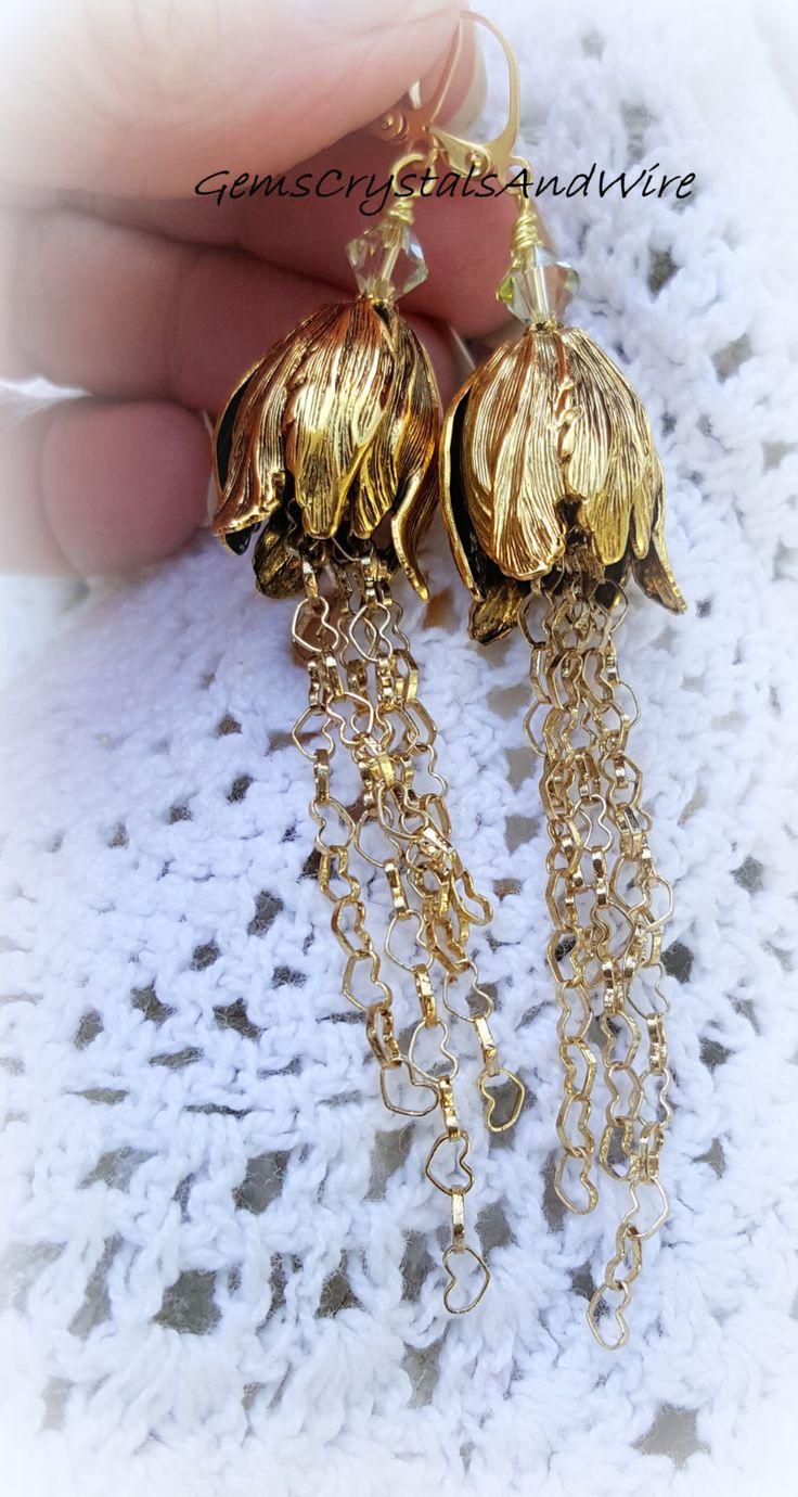 I Love Spring, Tulip Earrings, Heart Chain, Crystal Earrings, Dangle Earrings, OOAK , WireWrapped Earrings, Gold Earrings - pinned by pin4etsy.com