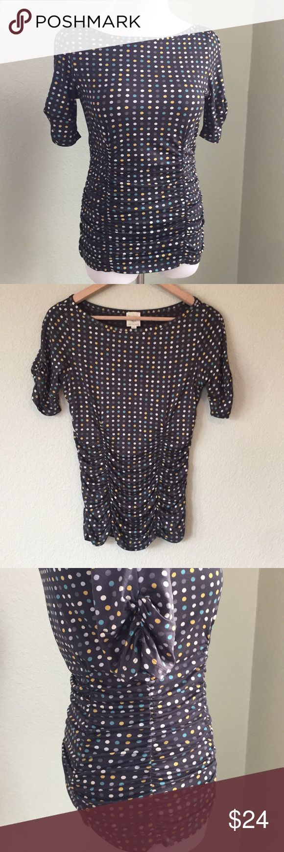 Anthropologie Weston Wear polka dot top small Excellent condition polka dot print knit top. Has stretch. Anthropologie Weston Wear label. Short sleeve.  Fast shipping, offers welcome. Smoke free home. Anthropologie Tops Tees - Short Sleeve