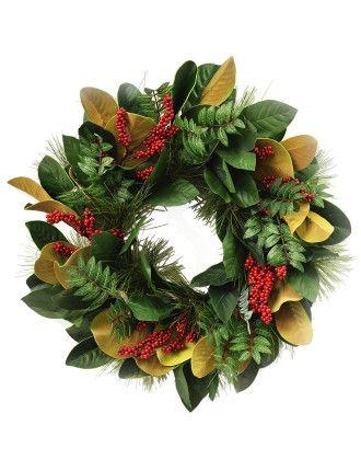 Buy Wreath Pepper Berries Green/red from David Jones at Westfield or buy online from the David Jones website.