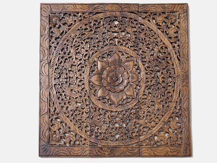 Balinese Carved Wood Wall Art Panel. Lotus Relief Wall Hanging Decorative.  A Unique Oriental