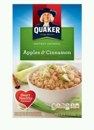 Quaker Instant Oatmeal Apples & Cinnamon  (10-1.51oz Packets) Hot Breakfast. Enjoy a nutritious breakfast with Quaker Apples and Cinnamon Oatmeal. It blends the flavors of tangy cinnamon with the sweetness of apples in a heart healthy oatmeal that is made from 100 percent whole grain oats. This oatmeal comes in a 10-count package and provides a good source of iron, calcium and other essential minerals and vitamins. Quaker Instant Oatmeal is a kosher product. Quaker Apples & Cinnamon Instant…