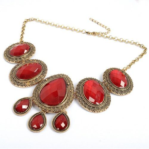 #Vintage Golden Round Water Drop Oval Red Resin Beads #Pendant #Necklace http://www.mysharedpage.com/vintage-golden-round-water-drop-oval-red-resin-beads-pendant-necklace $5.49