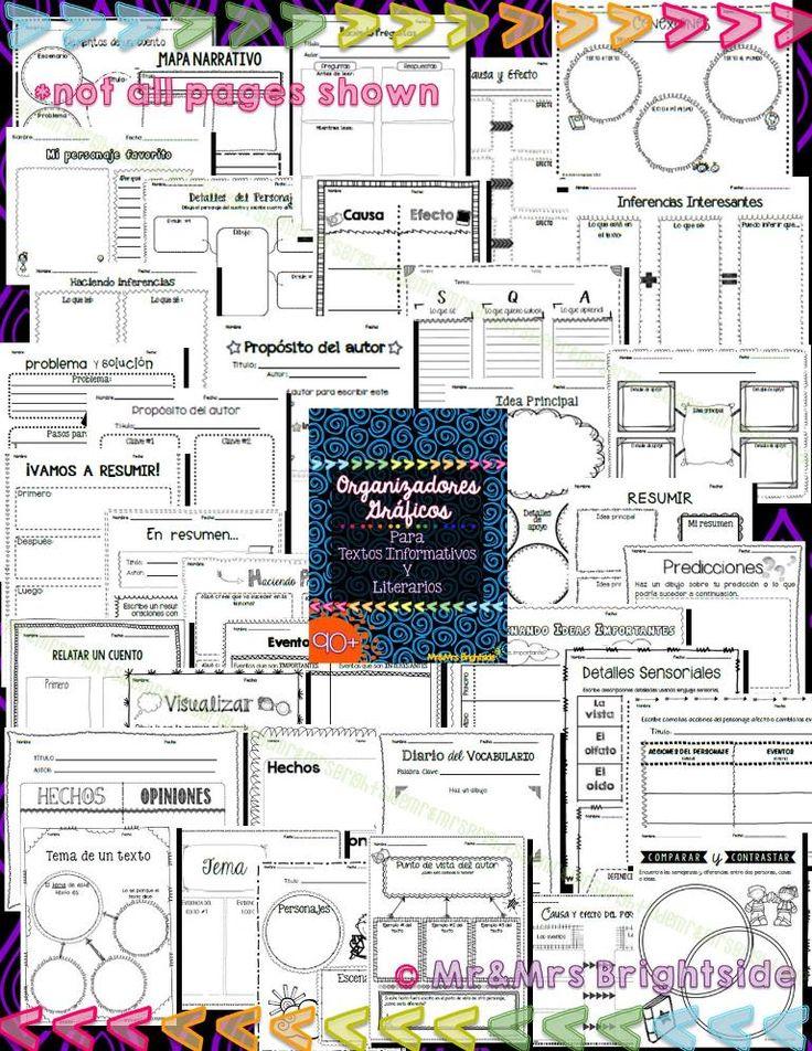 Organizadores Graficos para textos informativos y literarios: Actividades sobre idea principal, elementos del cuento, causa y efecto, secuencia, inferir, predecir...