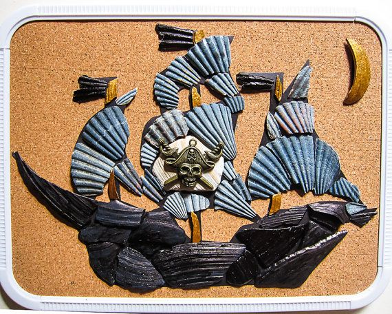 "Fun Art and Learning activity for kids-seashell Picasso mosaic and educational kit ""Pirate Ship"", 8.5"" x 11"". Make your own mosaic. This kit was sold, similar one can be order by a special request."