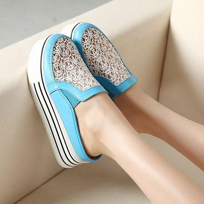 Cuñas de cristal PU compras Corea con zapatos de suela gruesa dulce de la plataforma zapatos casuales bajo corte zapatos zapatos de la mujer planos 2014