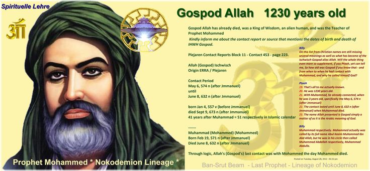 Gospod Allah   1230 years old    Gospod Allah has already died, was a King of Wisdom, an alien human, and was the Teacher of Prophet Mohammed  Kindly inform me about the contact report or source that mentions the dates of birth and death of IHWH Gospod.   Plejaren Contact Reports Block 11 - Contact 453 - page 223.   Allah (Gospod) Ischwisch  Origin ERRA / Plejaren   Contact Period  May 6, 574 n (after Jmmanuel)  until  June 8, 632 n (after Jmmanuel)   born Jan 4, 557 v (before Jmmanuel)…