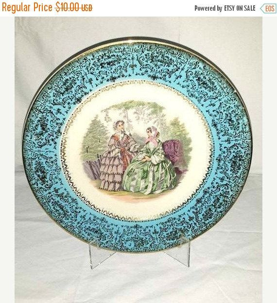 Godey Scene Plate,Turquoise Decorative Plate,Century,Salem,Turquoise,Warranted 23K Gold,Hand Painted Victorian Plate,Godey Scene,Gold,1940s by JunkYardBlonde on Etsy