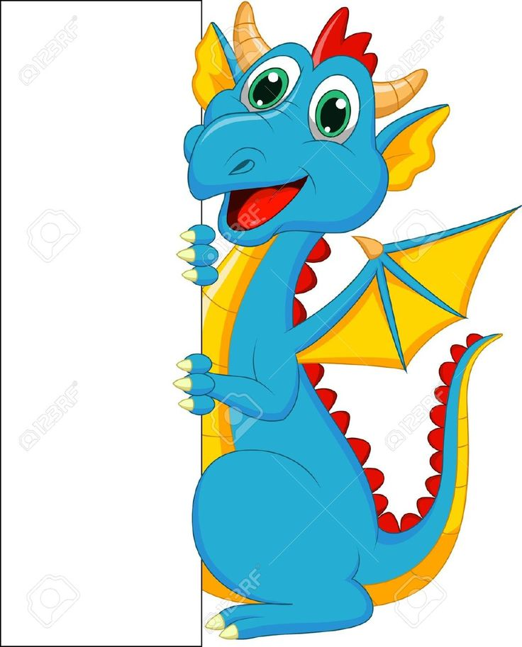 Cute Dragon Cartoon With Blank Sign Royalty Free Cliparts, Vectors, And Stock Illustration. Pic 20219432.