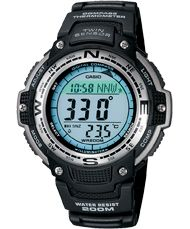 This is one amazing watch. Features time, world time, digital compass, thermometer, stopwatch, countdown timer, and multiple alarms. Water resistant 20 bar (669 feet).