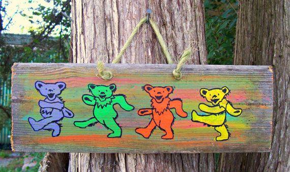GRATEFUL Dead BEARS Reclaimed Wood Sign DANCING by JunkWorksEtc, $18.50