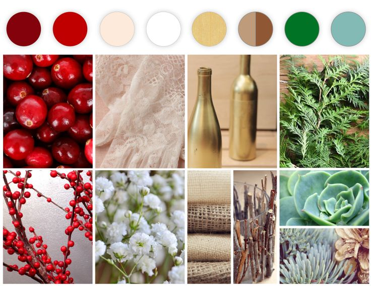 My Wedding Color Palette {Cranberry, Red, Cream, White, Gold, Burlap, Wood, Evergreen, & Celadon} Theme: Woodsy, Rustic, Winter & Holiday