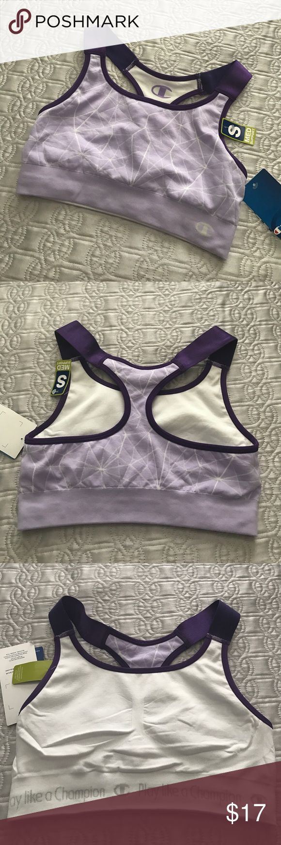 NWT Champion Purple Sports Bra Racerback NWT champion sports bra.  Size small, medium support.  The material and straps are very stretchy, but I'd say it fits more like an xs.  Depending on how you prefer the fit I guess.  Make an offer! Champion Intimates & Sleepwear Bras
