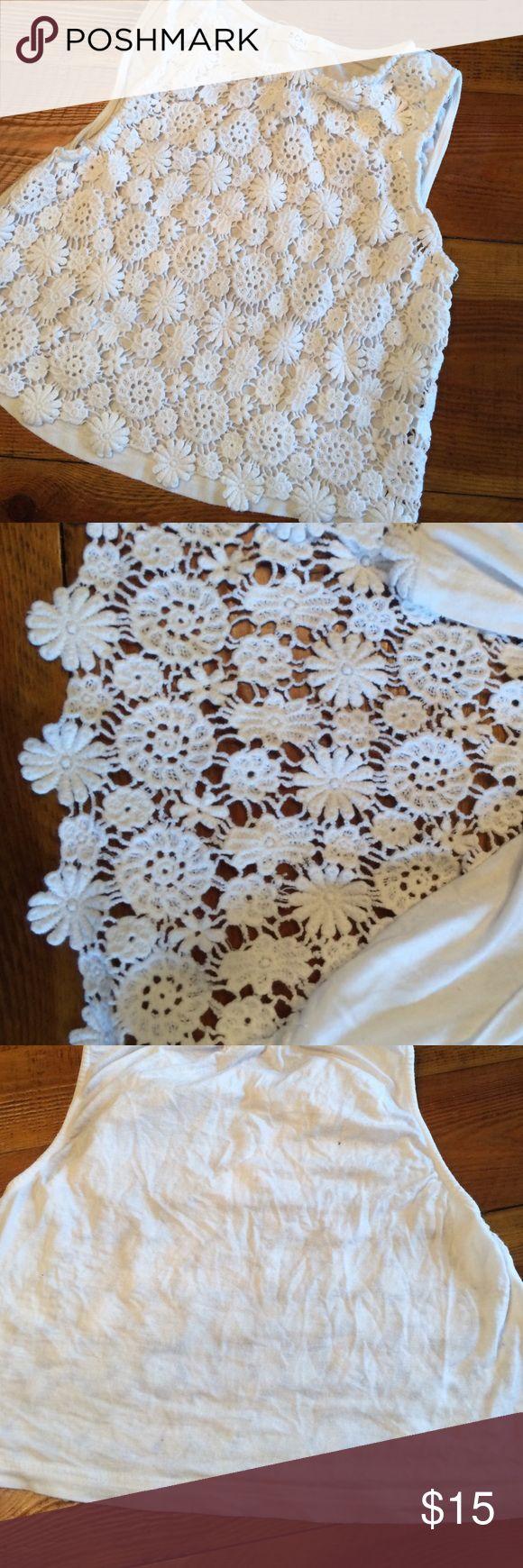 Crochet Lace Front Crop Top Crochet Lace Front Crop Top soli back. Super cute over bralettes or bikini tops BCNU Tops Crop Tops