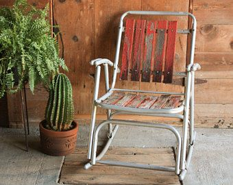 Vintage Outdoor Folding Rocking Chair, Rustic Wooden Rocker, Folding Chair Vintage Wood, Metal Rocking Chair, Vintage Porch Rocking Chair