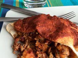 Turkey sweet potato pita enchiladas