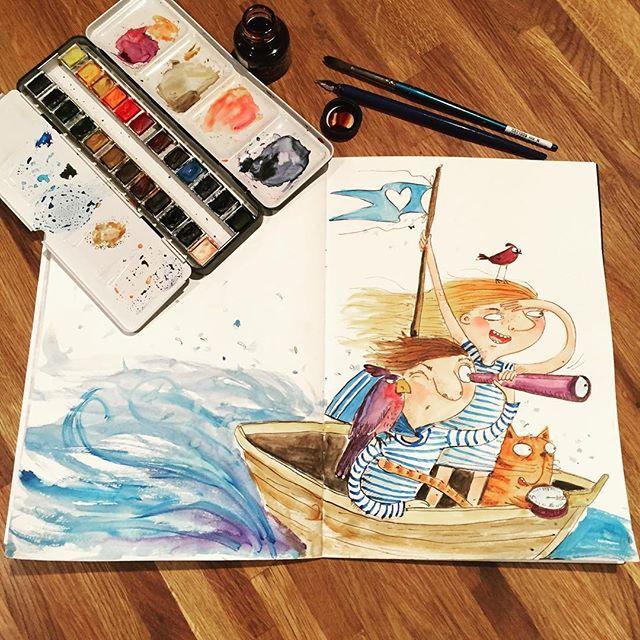 Неделя 10. МОРЯКИ И МОРЯЧКИ.   Мои моряк с морячкой плюс их питомцы мчатся на встречу приключениям. Компас говорит, что на север. Рисунок к марафону #денькрокодила  my sailors are on the way to their adventures. #скетчбуки #рисуйкаждыйдень #рисунок #arts_help #art_we_inspire #illustration #childrenillustration #drawing #topcreator #детскаяиллюстрация