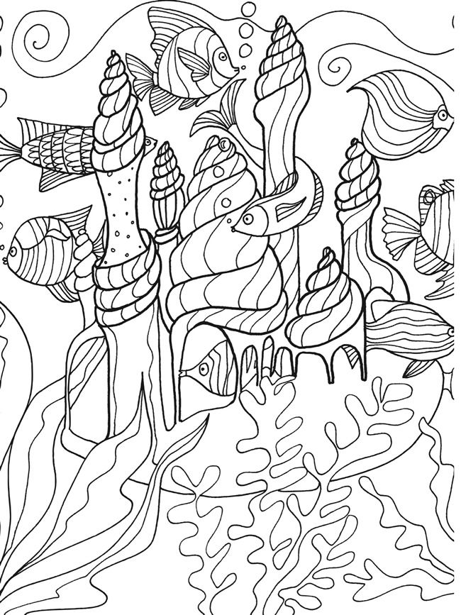 dover publications sample page from under the sea adventure coloring book fishand sea castle