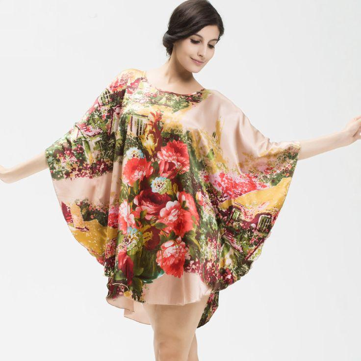 2016 Hot Sale Perempuan Sutra Baju Tidur Mode Putaran Kerah Selutut Gaun Sutra Dicetak Gaya Baru Merek Warna Jubah