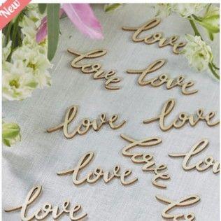 confettis en bois love