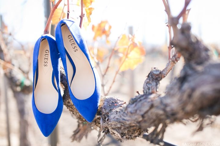 Something blue, wedding shoes. Wiens Family Cellars Temecula Wedding. Photos by Kaysha Weiner.