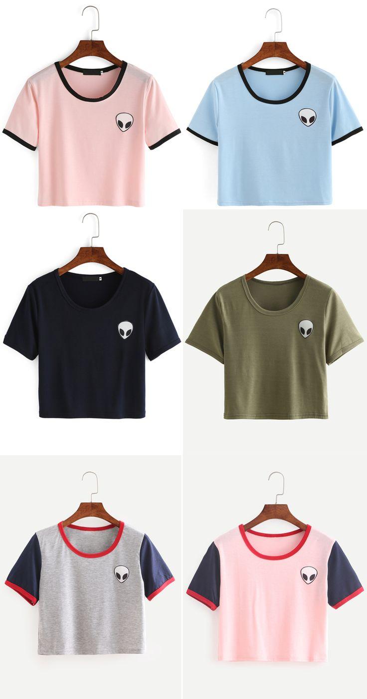 Crew Neck Alien Print Crop T-Shirt from romwe.com