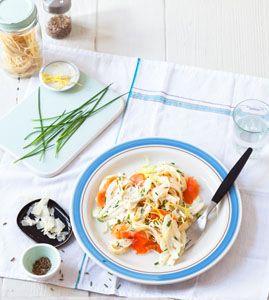 Pasta mit Fenchel und Lachs. 15 Minuten.